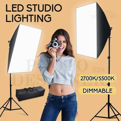 Photo Studio Dimmable LED Beads Softbox Continuous Lighting Light Stand Kit+ Bag