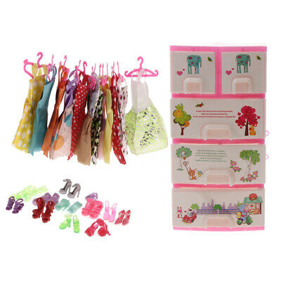 Lot 12pcs Dresses+ 12prs Shoes and Closet Accessories for Dolls Gifts