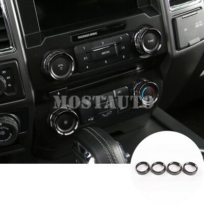 Black Air Condition Switch Knob Cover Trim for Ford F150 F-150 2016 2017