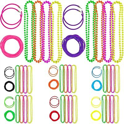 NEON 80s FANCY DRESS NECKLACE BEADS HOOP EARRINGS BRACELETS HEN PARTY JEWELLERY