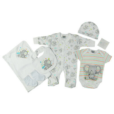 1bea7a2175680 NEWBORN NEUTRAL BABY Clothes Unisex Baby shower 7 Piece Gift Set White  Elephant