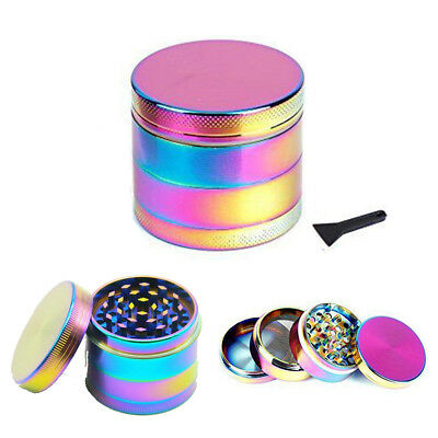 4 Piece Zinc Alloy Colorful Tobacco Herb Grinder Spice Aluminum With Scoop US