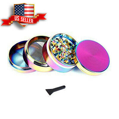 50mm Rainbow Zinc Alloy Spice Herb Grinder Cylinder 4 Piece Tobacco With Scoop