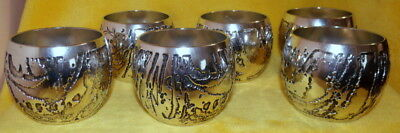c1970s DON SHIEL / STEPHEN DALY LUNAR PATTERN NECTAR CUPS - FULL SET OF SIX (6)