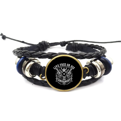 2Nd Amendment 1776 Glass Cabochon  Bracelets Braided Leather Strap Bracelet