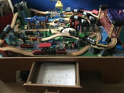 UNIVERSE OF Imagination Train Table Activity Wooden Toy Play Table ...