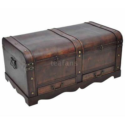 Wooden Treasure Storage Chest Box Trunk Vintage Coffee Table Home Furniture  B4X0