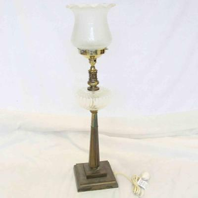 Antique Vintage Floor Lamp with Glass Lamp Shade #14876