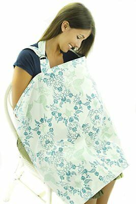 Nursing Cover with Dual Straps and Boned Neckline - Blue Green Floral