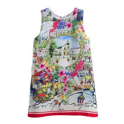 Girls Kids Sleeveless Floral Print Summer Holiday Party Casual Dress Age 3 Years