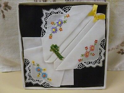 Vtg Set 3 Linenhall Cotton Handloom Embroidery Handkerchiefs- Ireland *BNIB