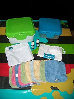 Cheeky Wipes - Complete kit - Cotton wipes, Boxes, Oils, Bags, for baby/family