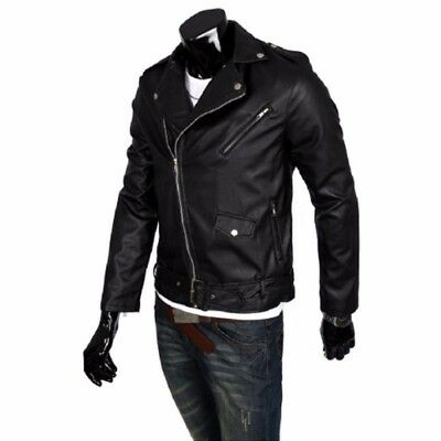 Mens Motorcycle Outwear Leisure Coat Zip Up PU Leather Biker Tops Jacket Fashion