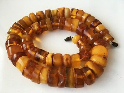 OLD Genuine VINTAGE ANTIQUE NATURAL AMBER BEADS NECKLACE ! 55 gr!