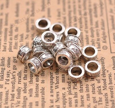 20Pcs Tibetan Silver Tube Big Hole Spacer Beads Jewelry Findings #3124(8X4MM)