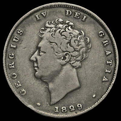 1829 George IV Milled Silver Shilling, Scarce