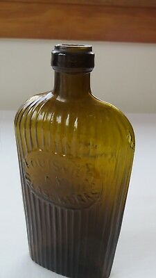 Olive Amber Hued GII-33 Louisville Glass Works 1/2 Pint Tough Color - Whoa!!
