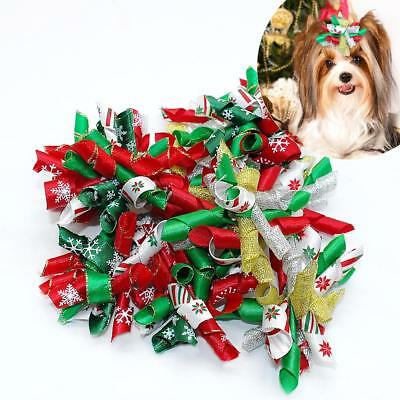Dog Bows Christmas Pet Dogs Hair Bows With Rubber Bands Cat Puppy Hair Grooming