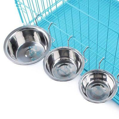 Pet Bowl Stainless Steel Cat And Dog Cage Hanging Bowl Removable Drink Food Dish