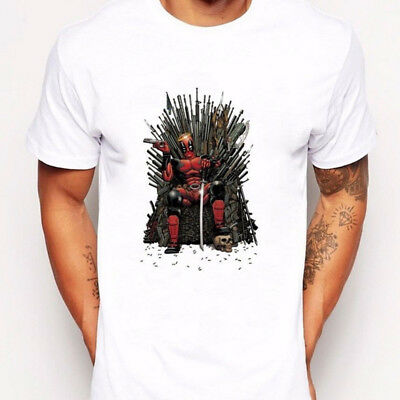 Deadpool on the Iron Throne T-Shirt Design Game of thrones Summer Men's Tops