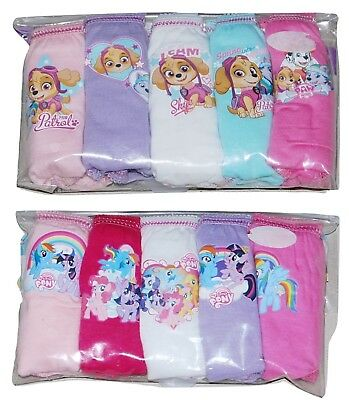 Paw Patrol My Little Pony 5 PACK Girls Pants Knickers 18 Months to 7 Years