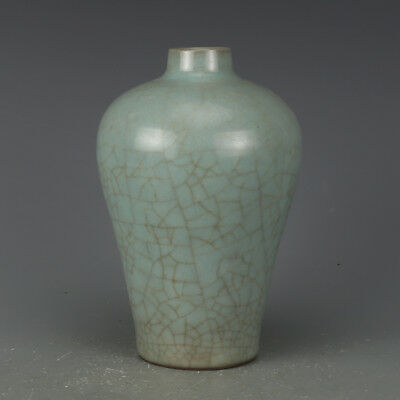 Chinese Ancient Song Guan Kiln blue glaze Ice pattern Porcelain Mei vase pot