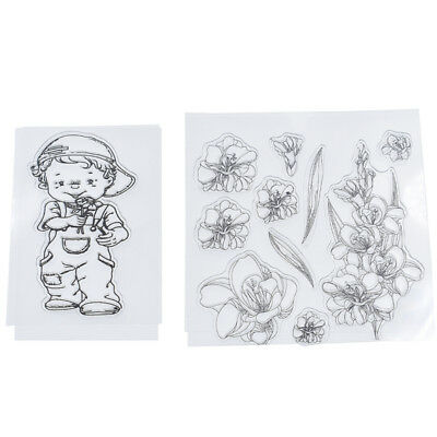 Transparent Clear Rubber Stamp Boy Flower DIY Scrapbook Card Decor Paper Crafts