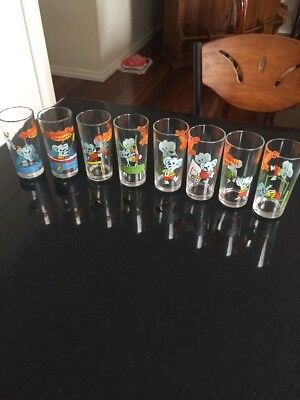 Complete Set Of 8 Nutella Blinky Bill Sports Collector Glasses