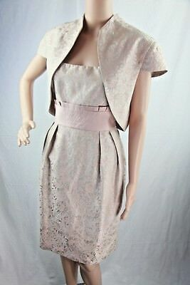 Davids Bridal Womens Dress Sz 14 Rose Gold Jacket Pink Blush MOB Formal MOH New