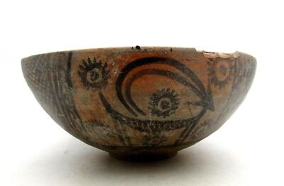 Indus Valley Terracotta Bowl W/ Monkey Motif - Rare Artifact Lovely - L314