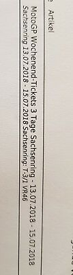 2 Tickets Moto GP Sachsenring 2018