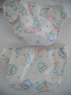 TWO VINTAGE GERBER DIAPER COVERS BABY or DOLL CLOTHES Bunnies Kittens  USA