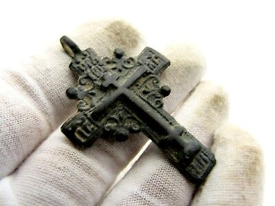 Late Medieval Radiate Bronze Cross Pendant - Superb Artifact Wearable - D494