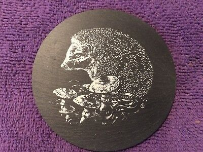 Coaster (1) Hedgehog On Slate Black/White