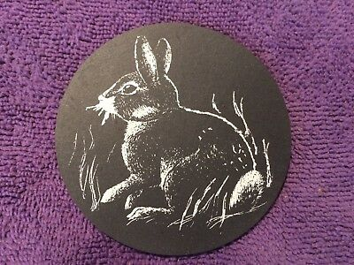 Coaster (1) Rabbit #2 On Slate Black/White