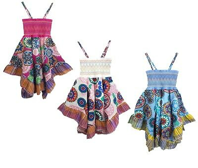 Girls Bright Floral Print Cotton Summer Kids Beach Skater Dresses Age 4-14 Years