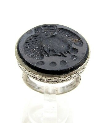 Post Medieval Silver Ring W/ Carved Intaglio  - Wearable  D500