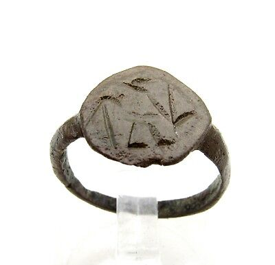 Viking Era Bronze Ring W/ Runic Decoration - Wearable Artifact Fantastic - D502