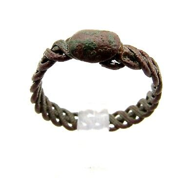 "Medieval Viking Era Bronze ""twisted"" Ring - Wearable Historical Artifact - D503"