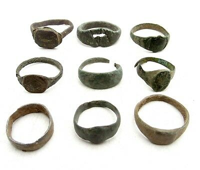 Lot Of 9 Roman / Medieval Bronze Rings For Cleaning - Wearable Stunning - D489