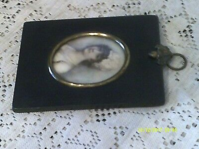 Antique Miniature Picture In Hanging Black Wood Frame