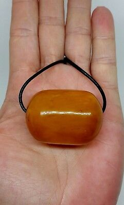 Unique Antique Natural Baltic Sea Amber Butterscotch Big Barrel Pendant 28.72 gr