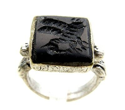 Post Medieval Silver Ring W/ Carved Intaglio  - Wearable  D528