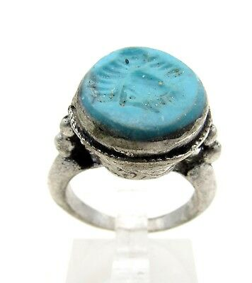 Post Medieval Silver Ring W/ Carved Intaglio Stone Bird - Artifact - D531