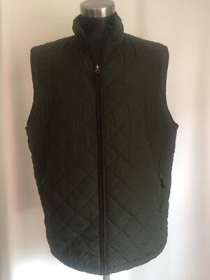 Field & Stream Men's Lightweight Olive Green Quilted Zip Vest Brown Trim Size XL