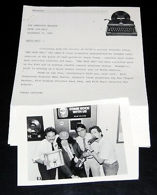 AC/DC Who Made Who 1986 3pc Radio Promo Photo Press Kit Lot Angus Young ACDC