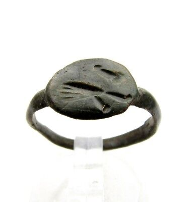 Viking Warrior Bronze Decorated Ring -Very Rare Wearable Ancient Artifact - D529