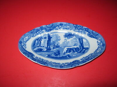 Spode Blue Italian Oval Fluted Dish Made In England