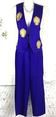VTG 90's Rare Lillie Rubin Purple Lion Two Piece Dress Vest Pant Cocktail SM 4