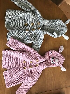 Baby Boden Rabbit hooded cardigans good used condition 6-12